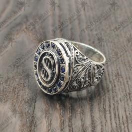 Доллар Мужской перстень с сапфирами