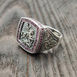 Печатка мужская серебряная Георгий Победоносец с камнями