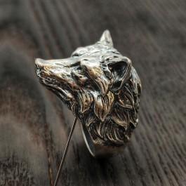 Мужское серебряное кольцо Волк