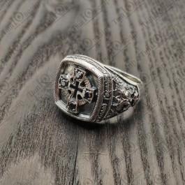 Кольцо серебряное Православное с молитвой