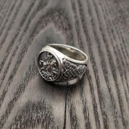 Серебряная мужская печатка Георгий Победоносец