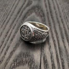 Серебряная мужская печатка с крестом
