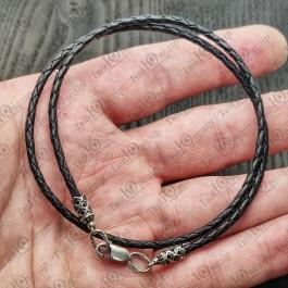 Кожаный шнурок с серебряной застежкой