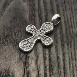 Серебряный крестик с позолотой «Распятие. Божия Матерь Оранта»